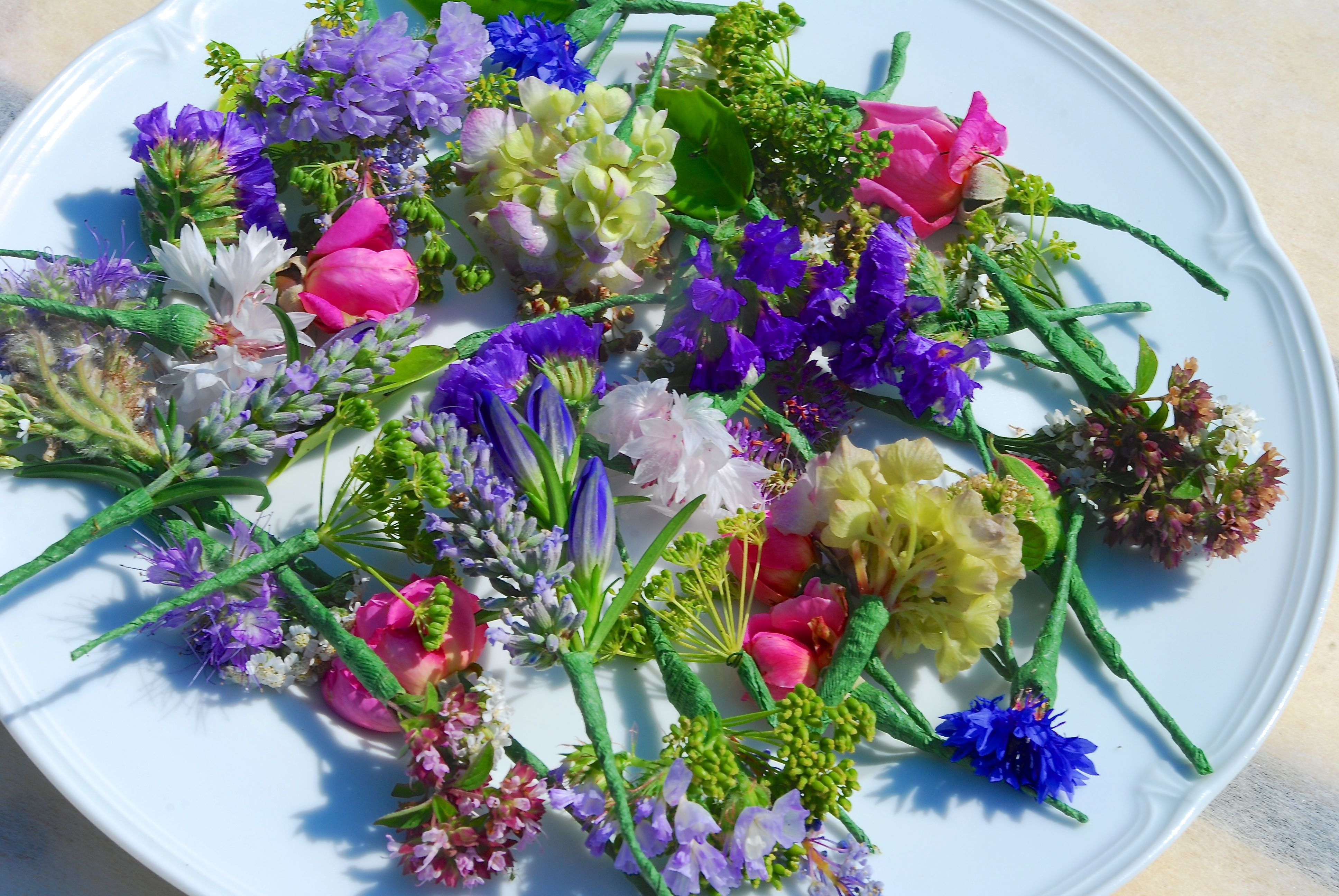 A Selection Of Seasonal British Summer Flowers For The Bridesmaids Hair Cornflowers