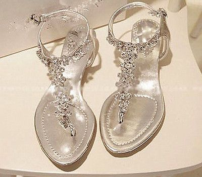 Details About Silver Diamond Low Heel Flat Wedding Party Sandal New Womens T Strap Shoes