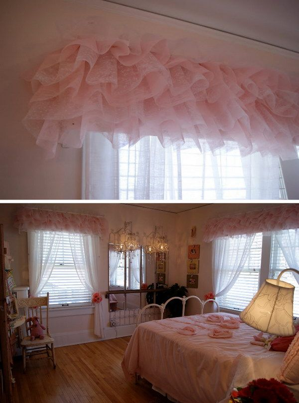 awesome teen bedroom decorating ideas as curtain design   DIY Curtain Valance From Puffy Decorative Runner Wrap ...