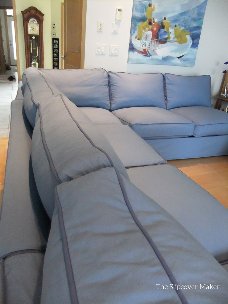 Blue Canvas Slipcover For Sectional Sofa
