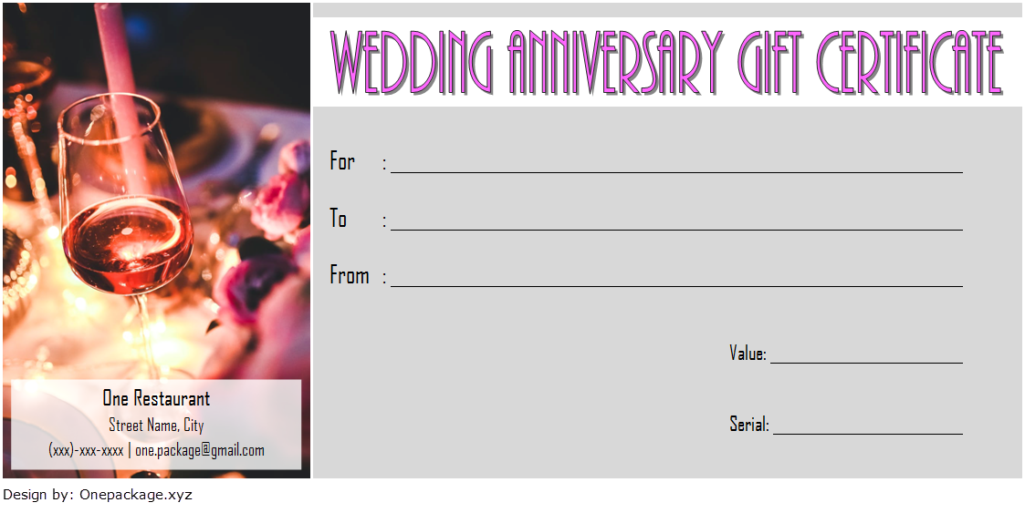 Anniversary Gift Voucher Template 2020 For Restaurant 1 Gift Certificate Template Anniversary Gifts Happy Anniversary Gifts