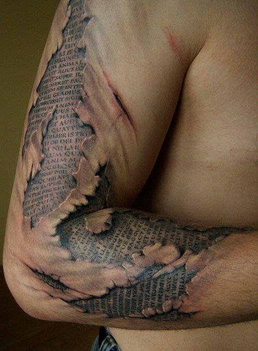 Text Under Torn Skin Tattoo Ripped Skin Tattoo Weird Tattoos