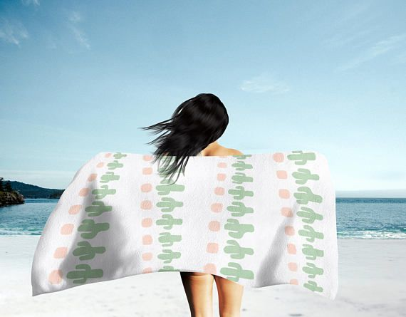 Cactus Beach Towel Bath Towel Hand Towel With Images Large
