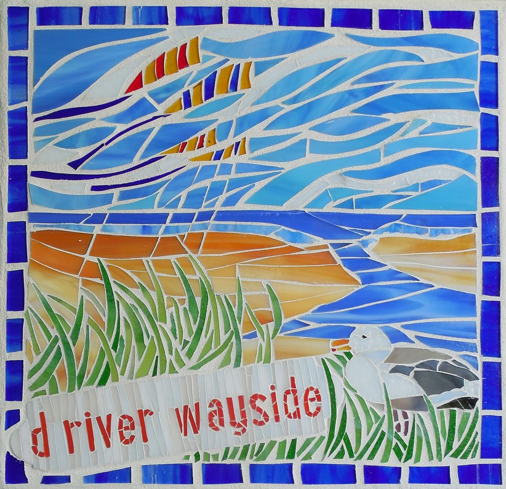 "'D River Wayside' ©2014 Joanne Daschel - stained glass mosaic on cement board. 16"" square.  SOLD"