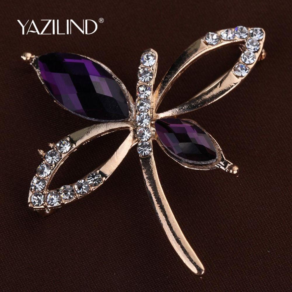 2016新しいファッション紫色の宝石ゴールドメッキかわいい蝶ブローチ