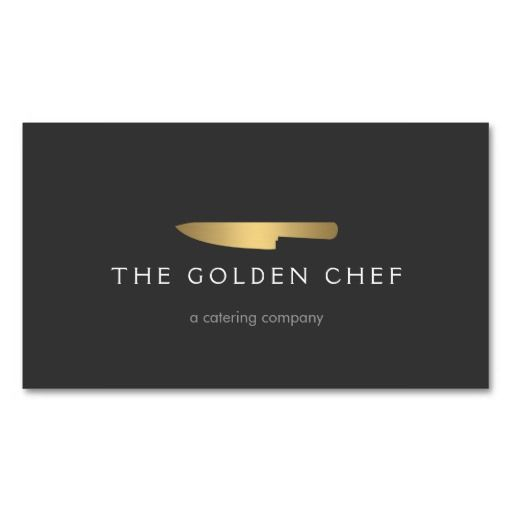 Gold Chef's Knife Logo and Business Card Template for Catering Companies and Caterers, Restaurants, Personal Chefs - ready to customize