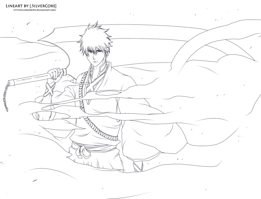 Bleach 459 Ichigo Lineart By Silvercore94 Bleach Art Naruto Drawings Bleach Anime