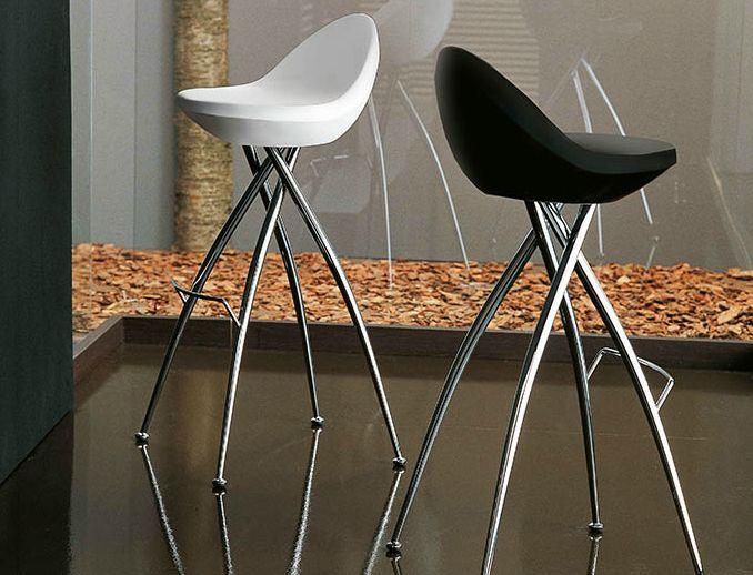 Sgabello bar cico sgabello alto con struttura in metallo cromato
