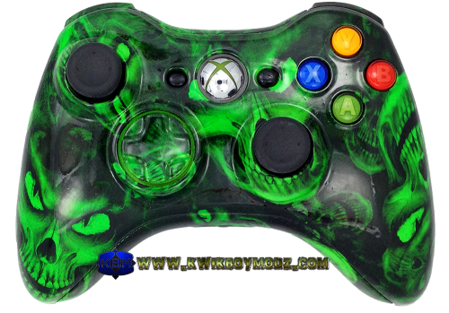 Nuclear Green Hades Skulls Xbox 360 Controller - KwikBoy Modz #customcontroller #controller #moddedcontroller #hadesskulls #xbox360 #xbox360controller #skullcontroller