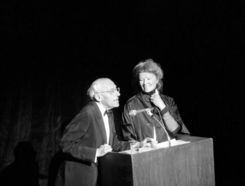 Katharine Hepburn makes a rare public appearance with directorGeorge Cukor.