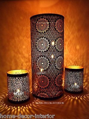 Moroccan style candle holder t light holder bronze copper - Home interiors and gifts candles ...