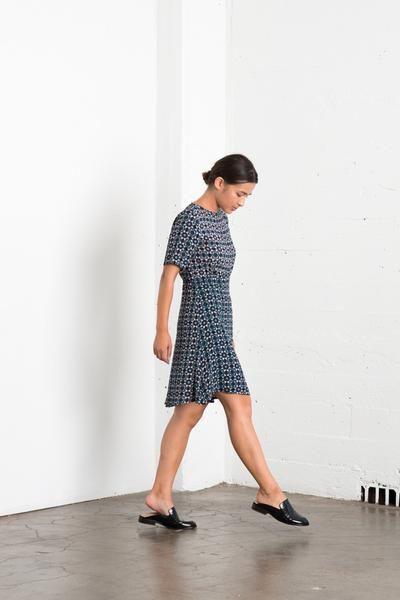 Lucia Dress - Indigo Stamp