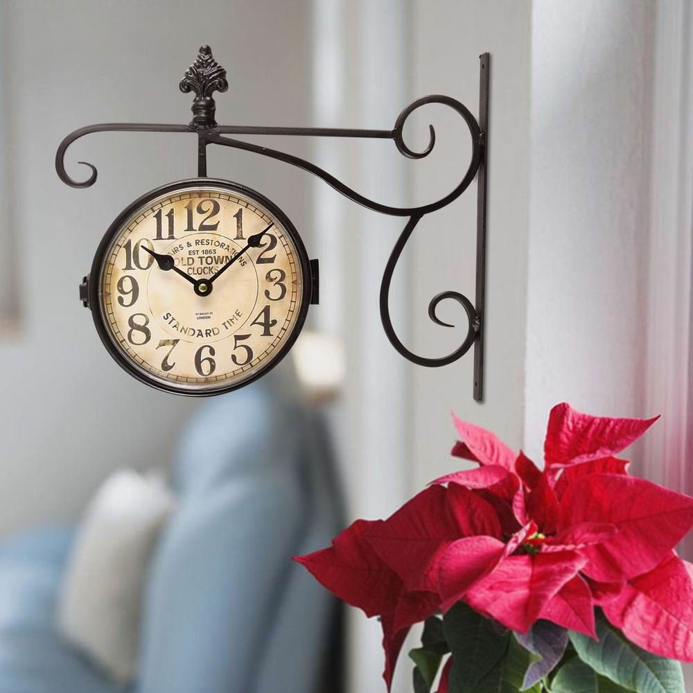 adeco trading round double sided wall hanging clock