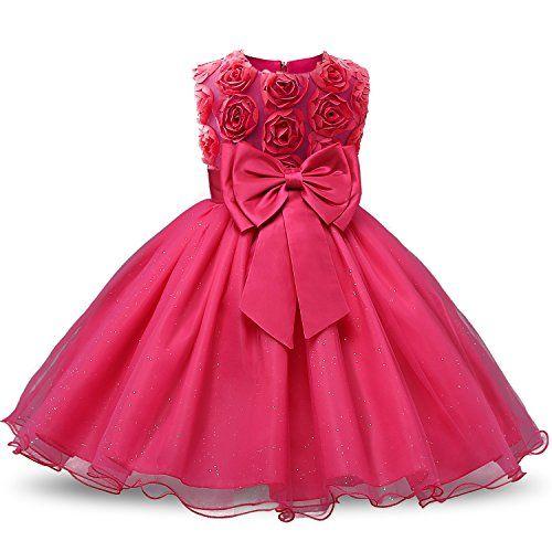 135990251 NNJXD Vestido de Fiesta de Princesa con Encaje de Flor de 3D sin Mangas  para Niñas Talla(110) 2-3 Años Rose