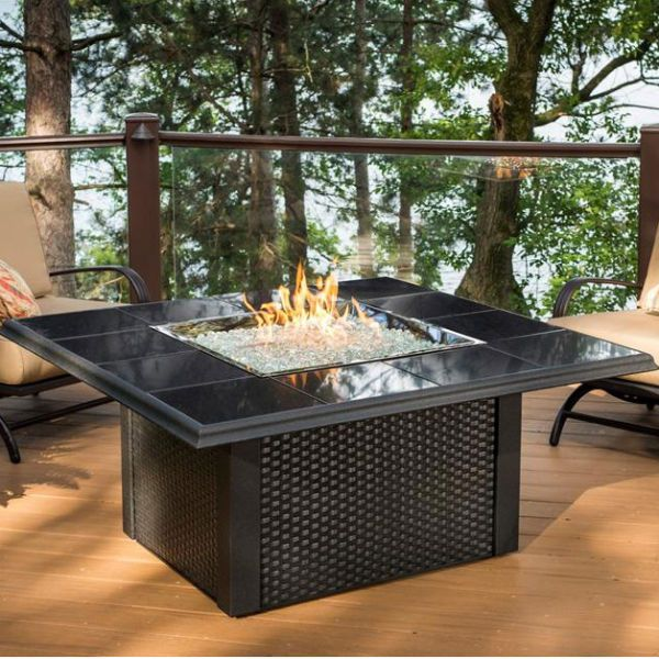Napa Valley Fire Pit Table Square Black Wicker Fire Pit Table