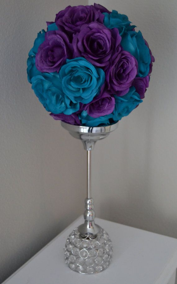 Teal and purple flower ball mix wedding by kimeekouture on