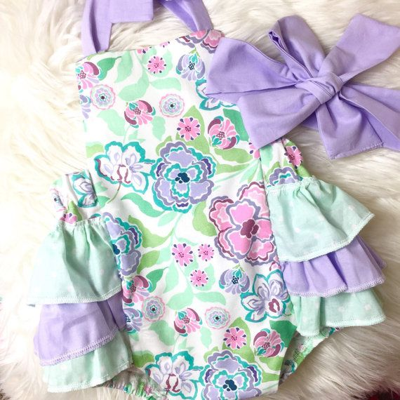 Baby Girl Romper purple and green floral by AllThatGlittersBaby