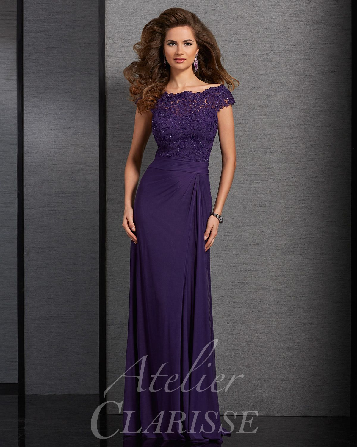 b40669c8cc Purple modest lace short sleeve long mother of the bride dress. Available  in plus sizes!
