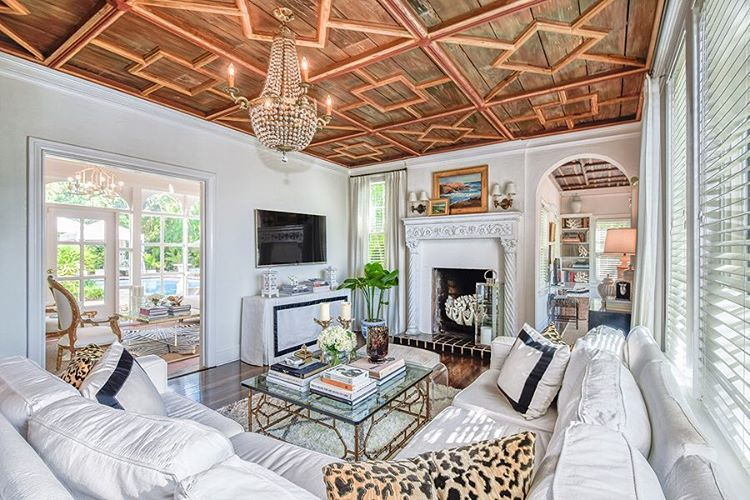My favorite details of this charming 1930's home for sale, the original pecky cypress ceiling and wood carved fireplace. Listed at 1.2MM in SoSo, West Palm Beach.  #forsale #westpalmbeachrealestate #listed #thepohrergroup #1930shome #k2realty