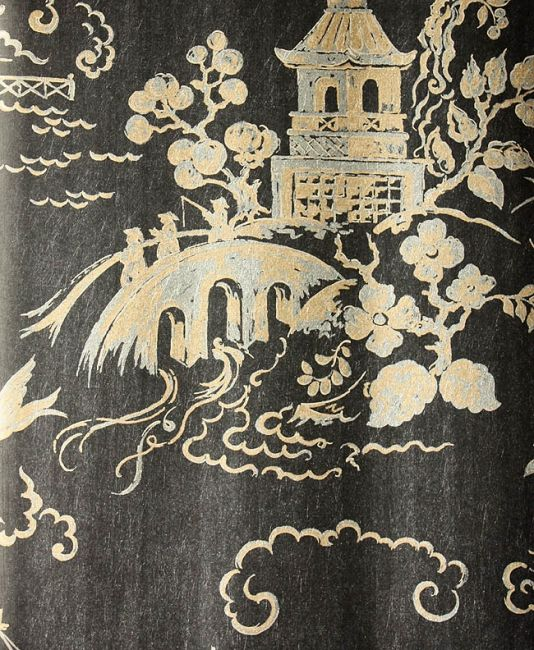 Chinese Bridges Wallpaper Chinese Scenes In Silver And Gold