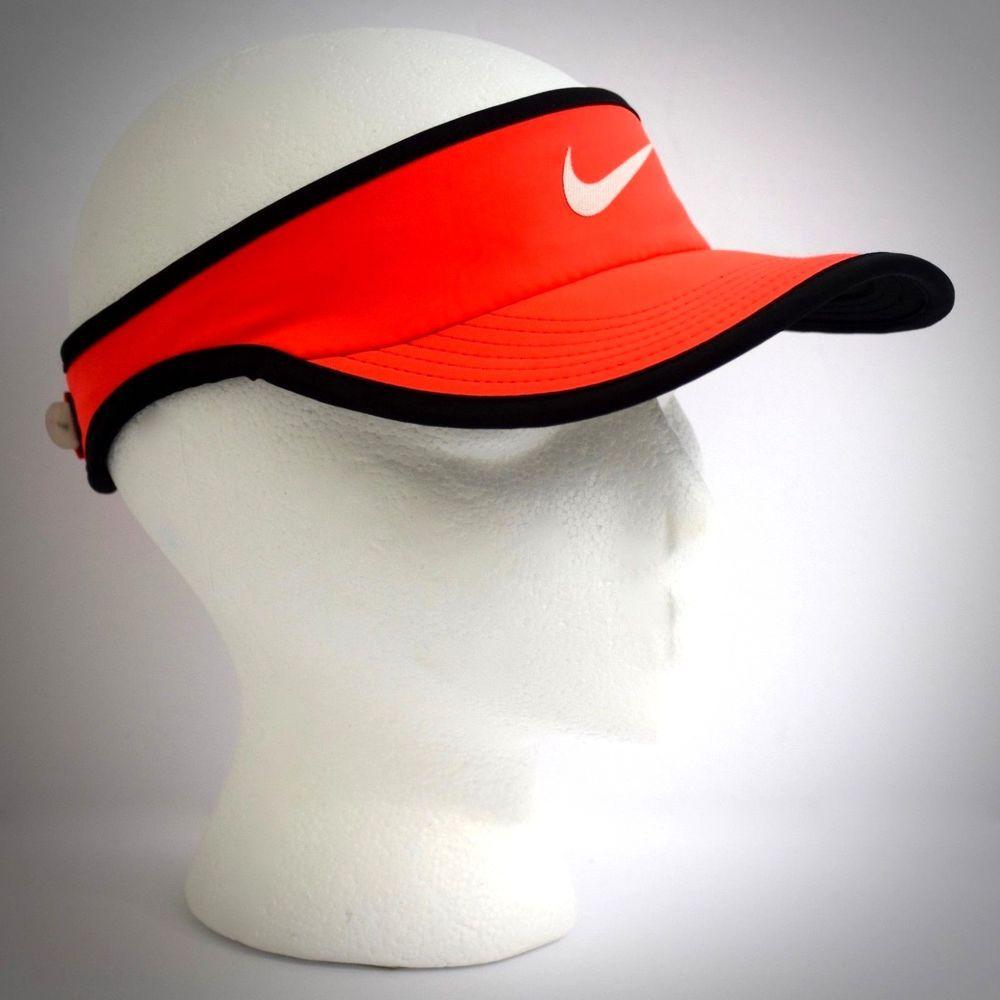 4ed65c18b Nike Womens Featherlight DriFit Visor Neon Orange Black Adjustable ...