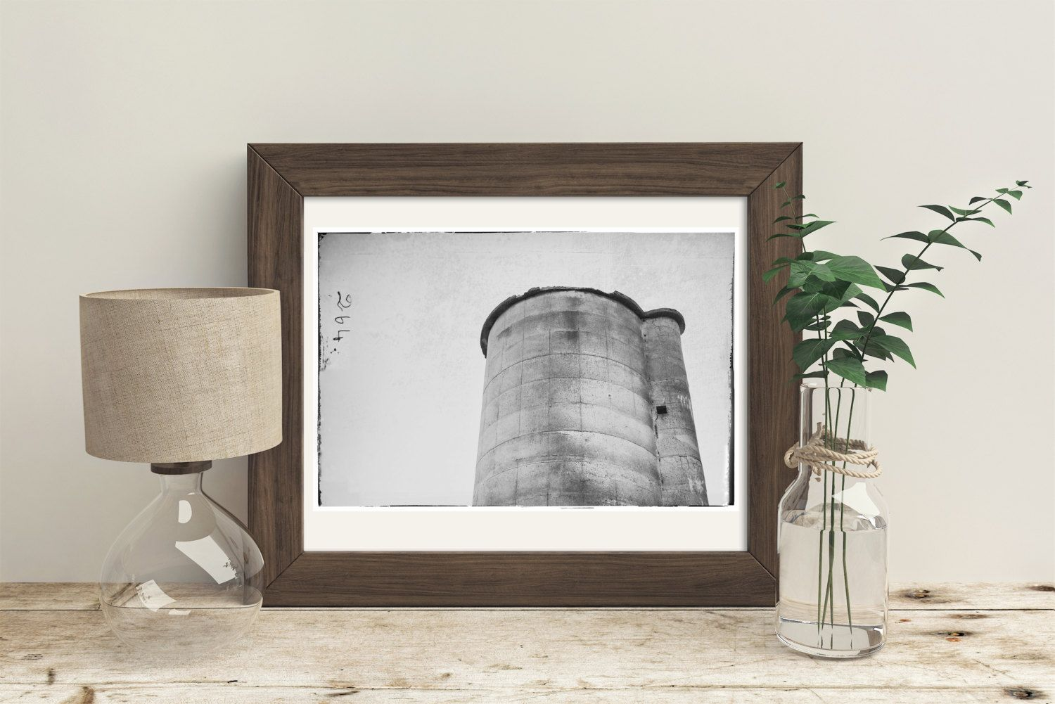 Barn Silo in Black and White, Modern Farmhouse Decor, Wall