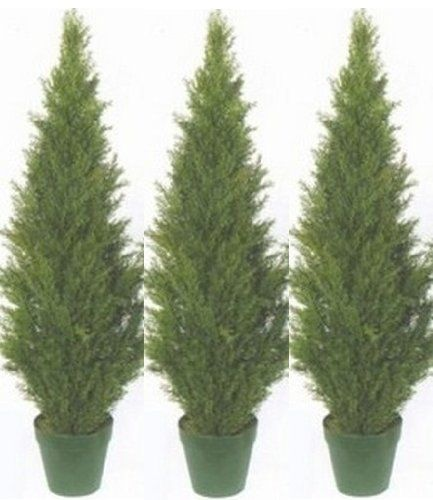Three 4 Foot Artificial Topiary Cedar Trees Potted Indoor Outdoor