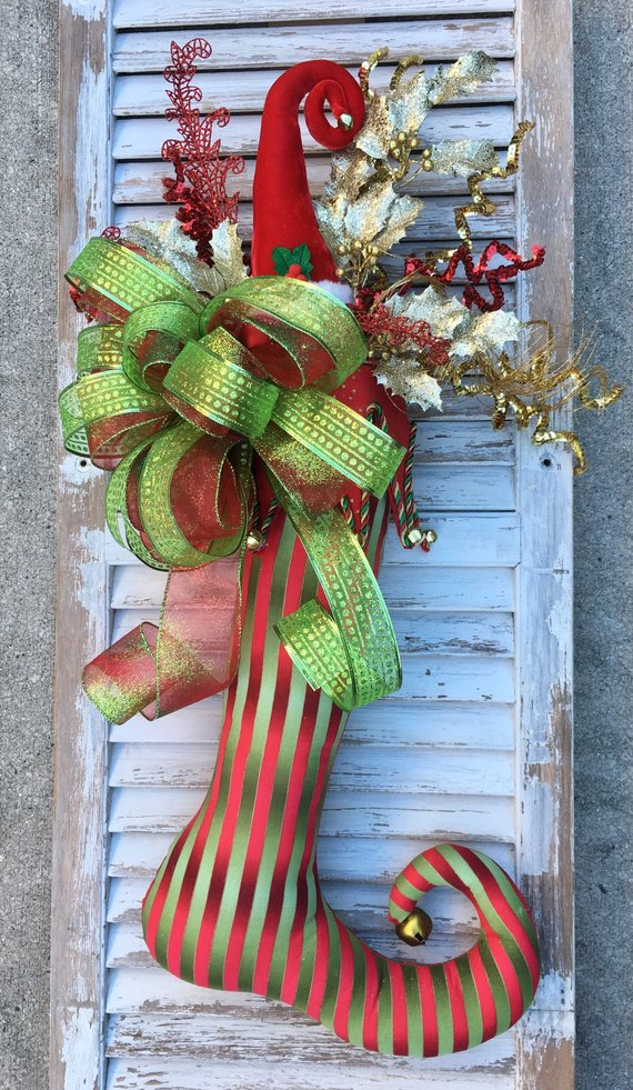 Christmas Stocking, Stocking Door Hanger, Santa Hat Stocking Decor