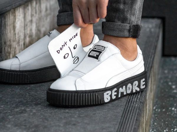 Shantell Martin x Puma Platform Strap 'White Black'   Basket homme ...