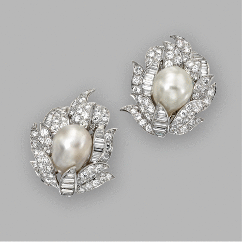 Pair of baroque cultured pearl and diamond earclips, David Webb   Sotheby's