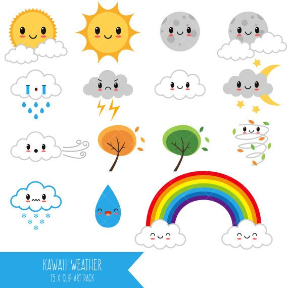 kawaii weather clipart happy weather cute weather printable rh pinterest co uk weather clip art free weather clipart pdf