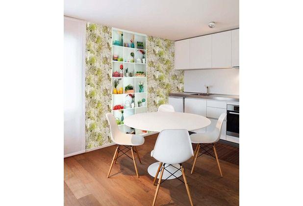 sch ne frisch wirkende tapete mit gr nen akzenten versch nert besonders die k che durch das. Black Bedroom Furniture Sets. Home Design Ideas