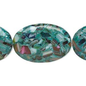 Bead, mother-of-pearl and resin (assembled), opaque teal green and multicolored, 30x20mm-31x21mm puffed oval. Sold per 15-inch strand. - Fire Mountain Gems and Beads
