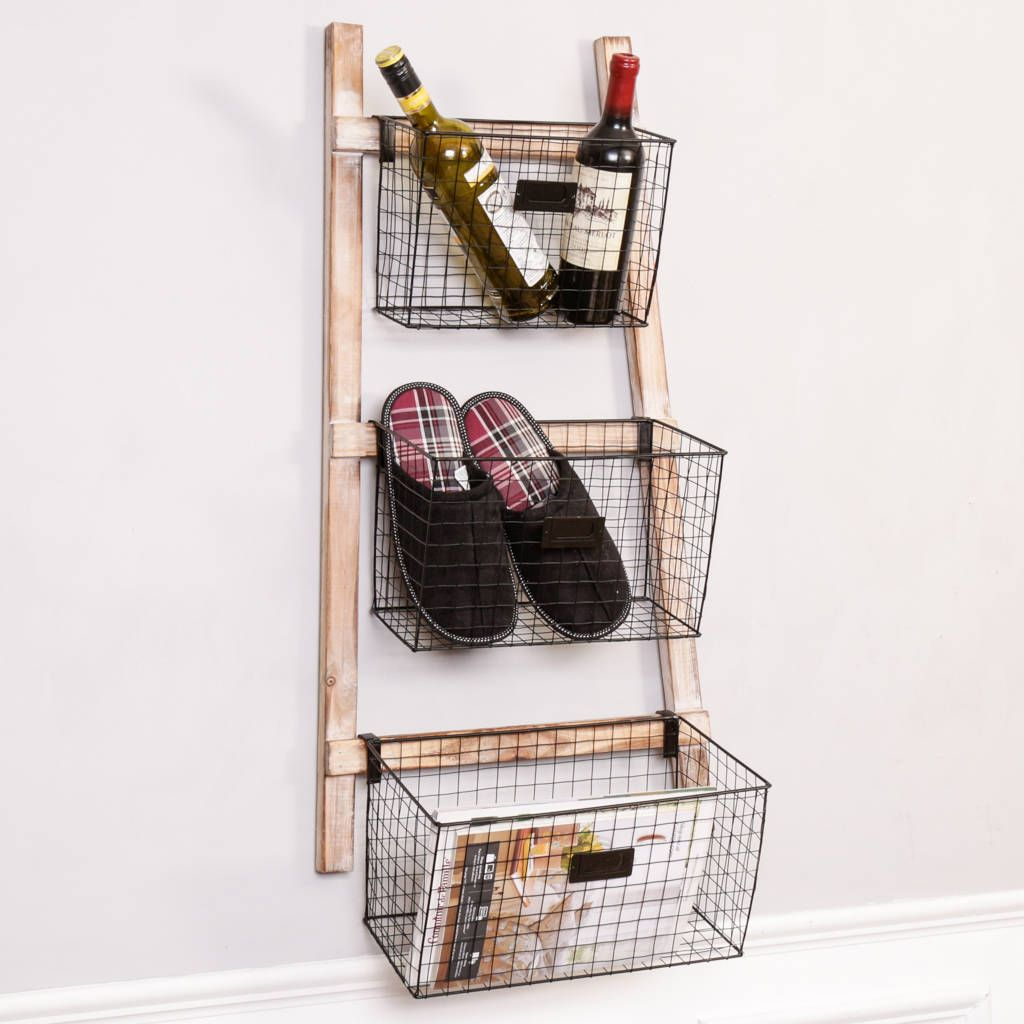 Are You Interested In Our Industrial Wire Home Storage Baskets Ladder? With  Our Wall Storage