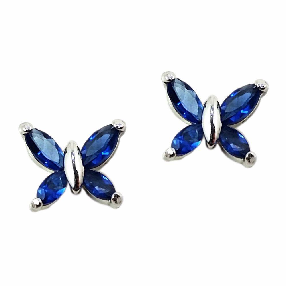Blue Butterfly Earrings Austrian Crystal Sterling Silver Stud e505s #RomeoJuliet #Stud