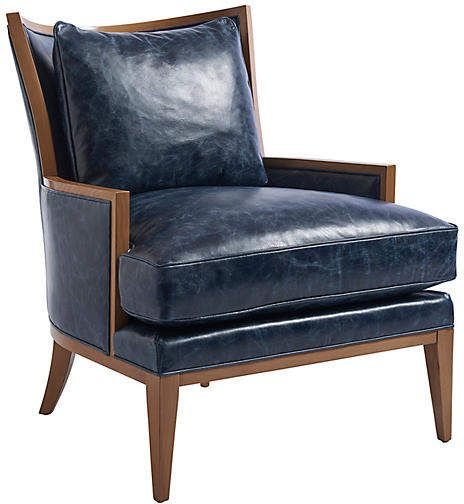Best Atwood Accent Chair Blue Leather Barclay Butera Blue 400 x 300