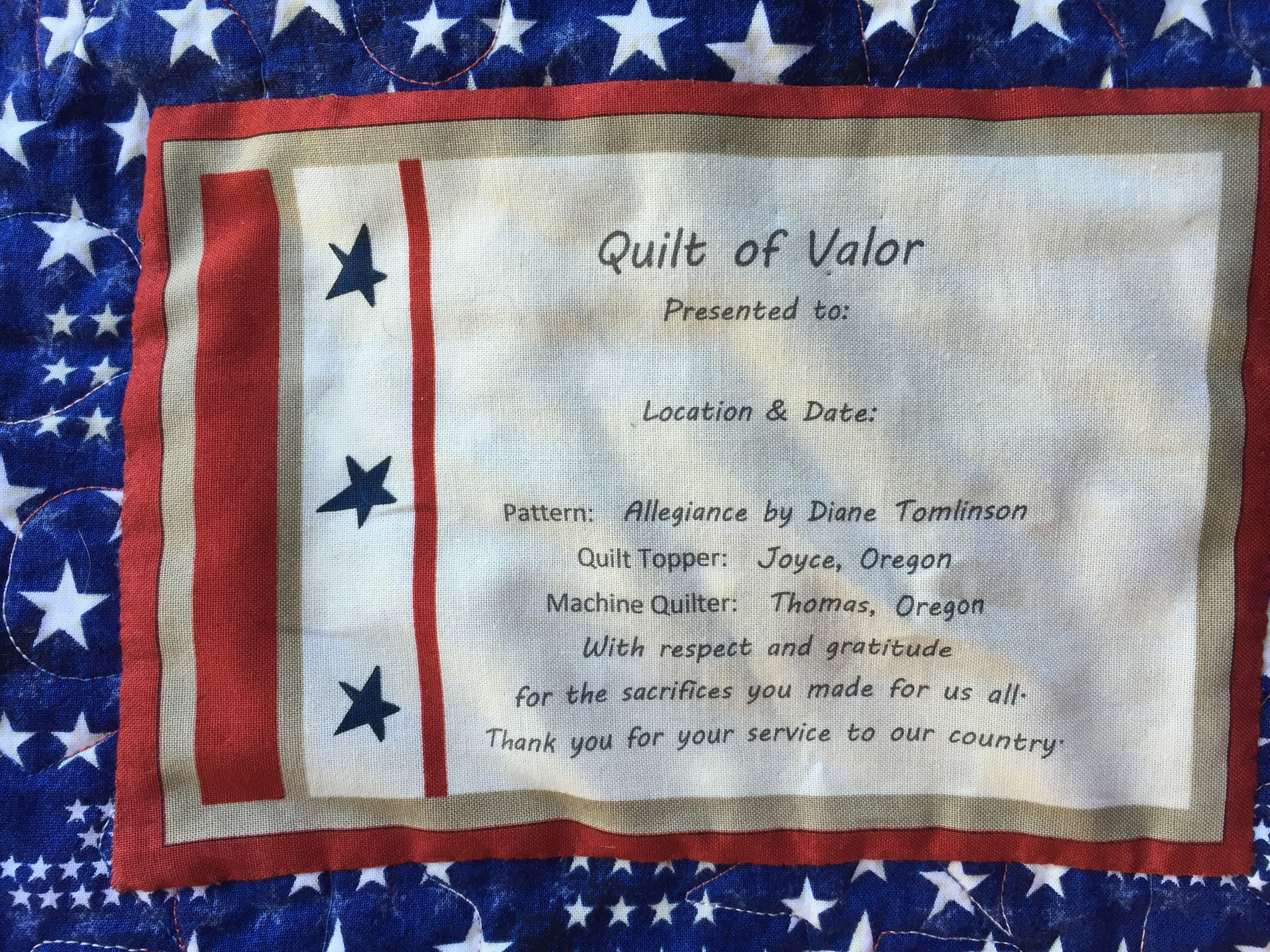 I created this Quilt of Valor label for my 1st QOV quilt (2015 ...