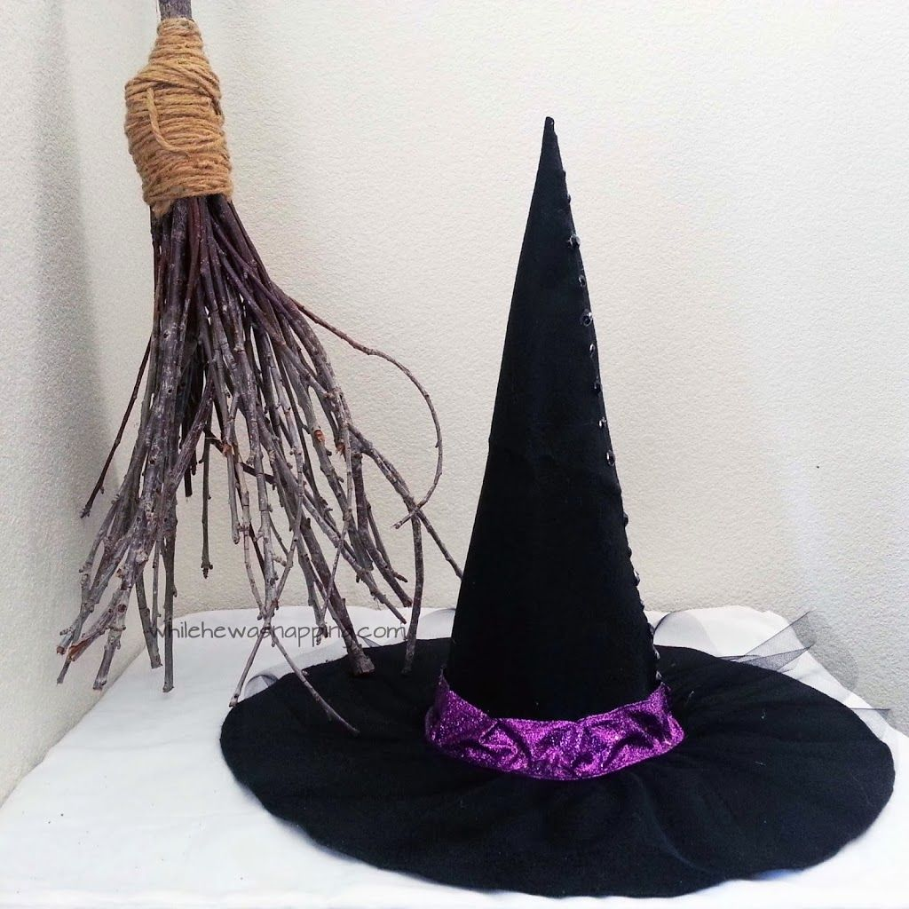 No Sew Witch Hat Diy You Can Even Wear It Only Takes An Afternoon To Make Plus 24 Hrs Drying Time So It S Good Witch Hat Diy Witch Diy Witch Hats Costume