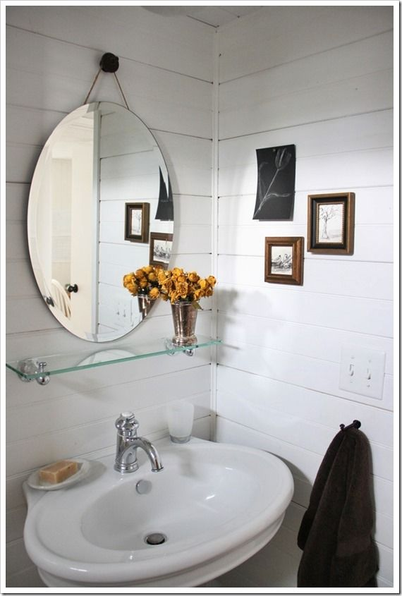 Bathroom with glass shelf and pedestal sink. // Assortment Blog ...