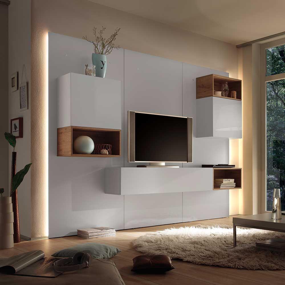 Fernseherwand In Weiß Hochglanz Eiche Modern 9 Teilig Wohnzimmerschrank Wohnwand Anbauwand Wohnwan Modern Furniture Living Room Tv Cabinet Design Backdrop Tv