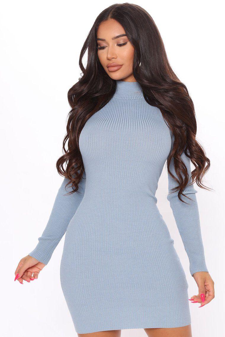 My Dear Darling Sweater Dress Blue In 2021 Sweater Dress Dresses Fashion [ 1140 x 760 Pixel ]
