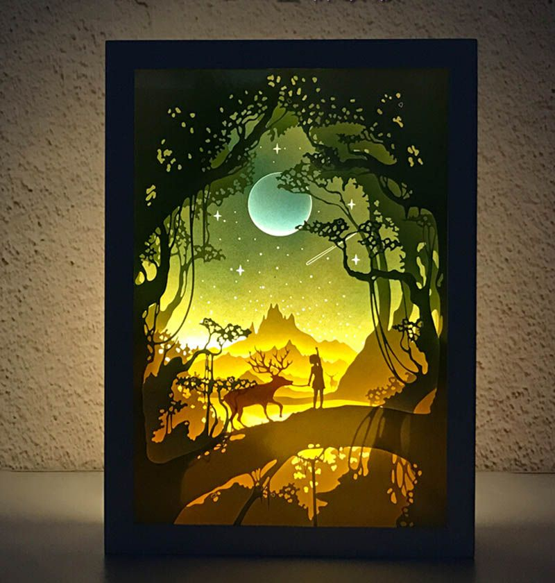 Papercut Light Boxes Shadow Paper Carved Lamp Night Light Shadow Box Art Paper Artwork Arts And Crafts Festival