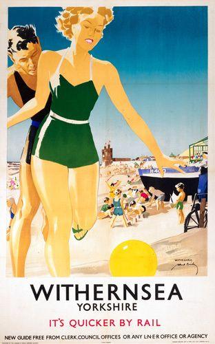 Withernsea Yorkshire Travel British Railway Photo Vintage Advert Print Poster