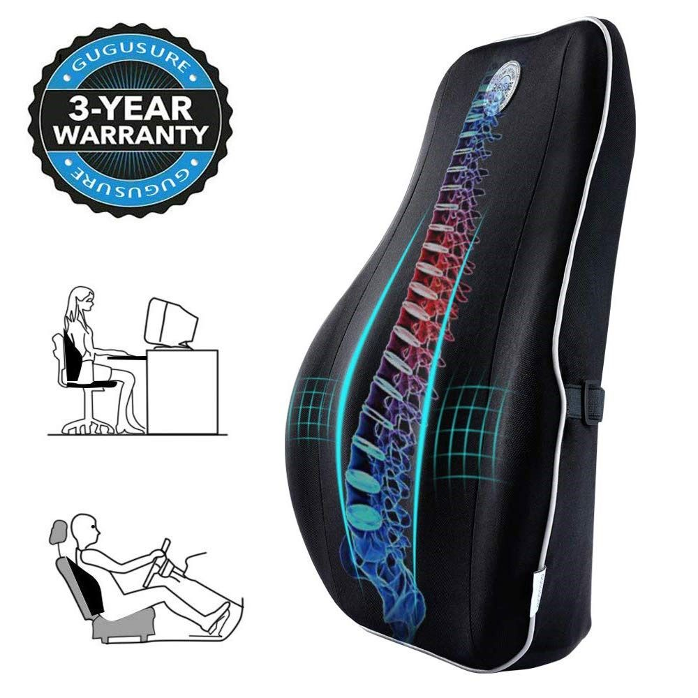 Memory Foam Back Cushion with Breathable Mesh Cover for