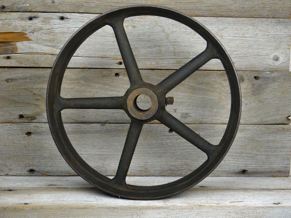 Old cast iron wheel flat belt pulley spokes ebay