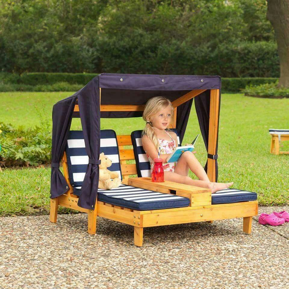 Kidkraft Outdoor Double Chaise Lounge Honey Navy White One Size