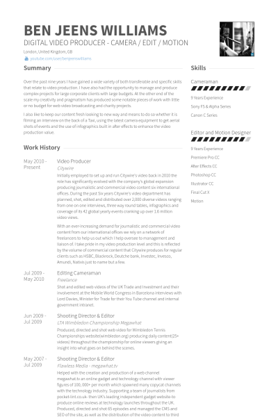Video Producer Resume Example Resume Examples Resume Editable Resume