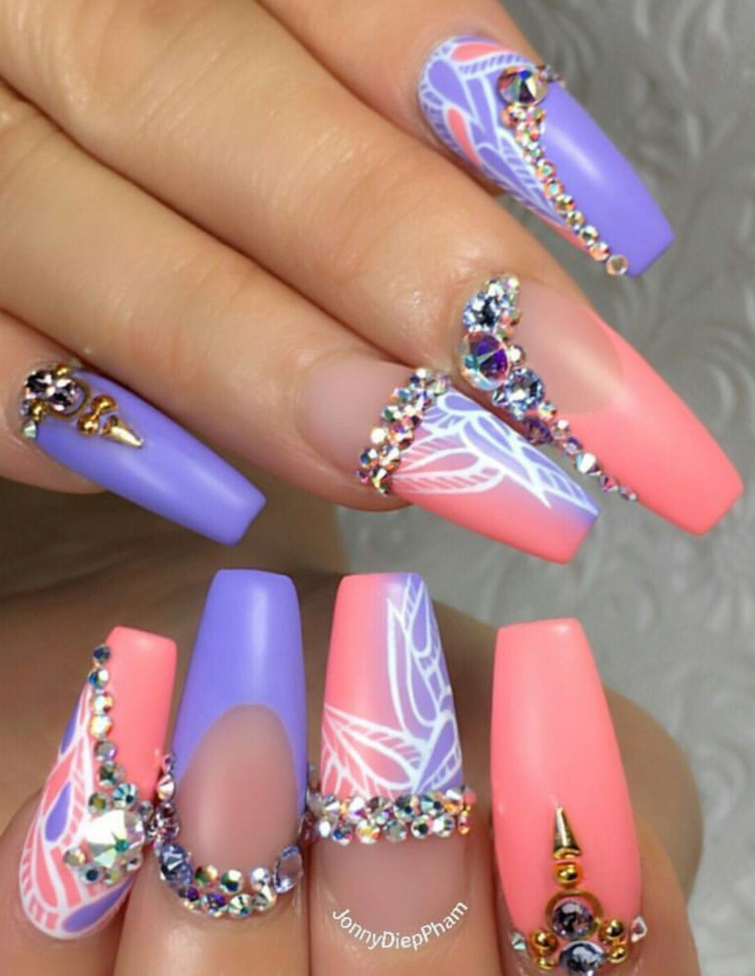 Purple Pink Rhinestone Nails Design Nailart Jonnydieppham