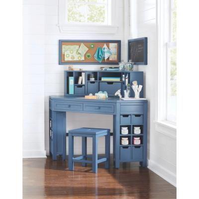 Martha Stewart Living Craft Space 58 In. W 16 Cubby Wood Corner Craft Table