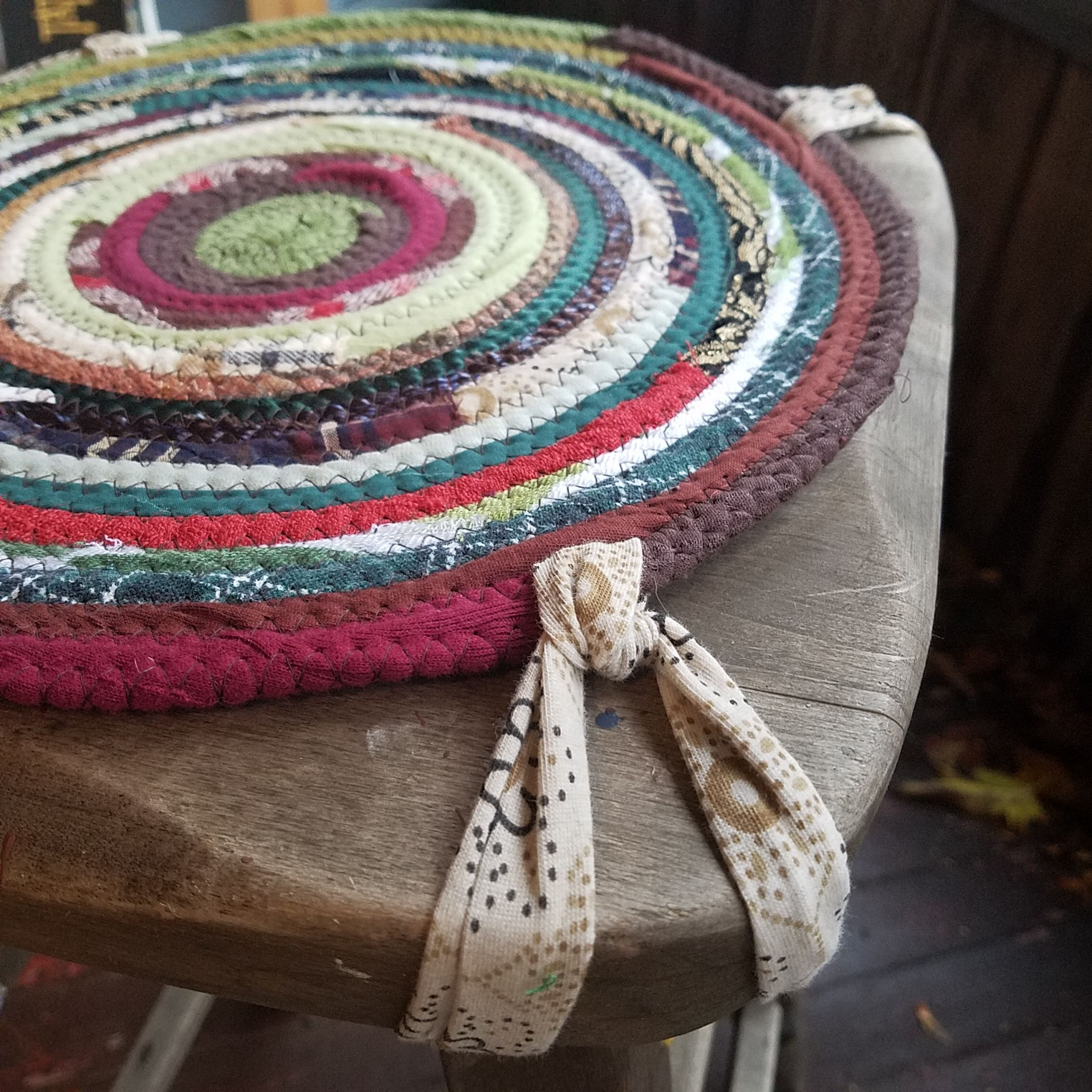 One Handmade Chair Pad, Round Braided Rug Style. Handmade, Made To Order.  You Choose Colors, Size And Quantity For Your Kitchen Or Dining Room Chair  Set.